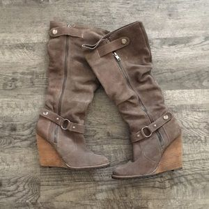 Grey suede knee high wedge boots
